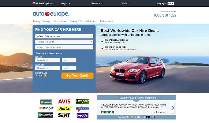 Auto Europe Homepage Screenshot