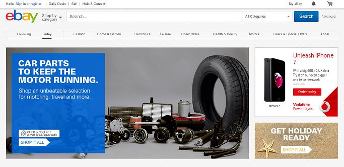 eBay UK Homepage Screenshot