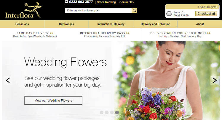 Same Day Delivery. Expert Florists. Interflora Guarantee Flowers From $ - Flower Delivery From Interflora™ When you order your flowers or a gift online from Interflora, you can rest assured your flowers will be delivered on time, and with the loving care they deserve.