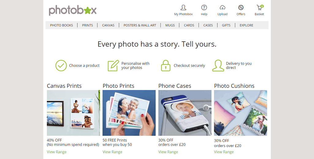 Photobox Homepage Screenshot
